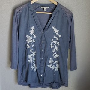 LC blue embroidered top